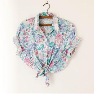 Vintage nautical pastel button up blouse L large